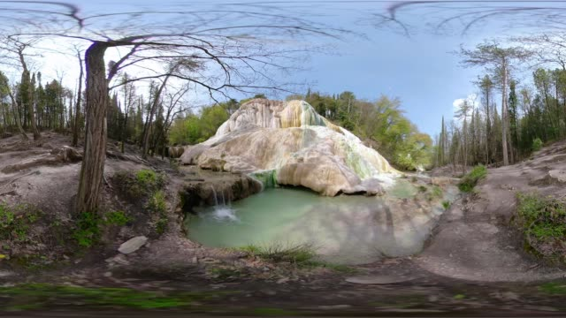 360 vr / hot spring with thermal pool - thermal pool stock videos & royalty-free footage