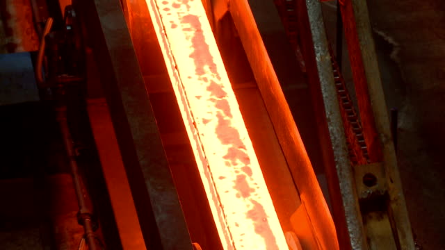 hot steel ingots on conveyor. foundry casting process, - furnace stock videos & royalty-free footage