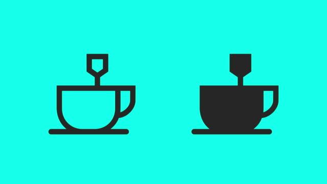 vídeos de stock, filmes e b-roll de chá quente ícones - vector animar - xícara