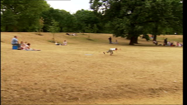 London EXT People enjoying lake in park TILT DOWN parched brown grass People relaxing in park with grass borwn from high temperatures and lack of...