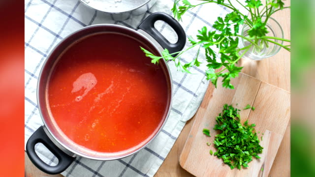 hot tomato soup - breakfast table stock videos and b-roll footage