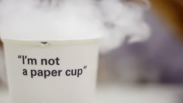 hot water in ceramic cup