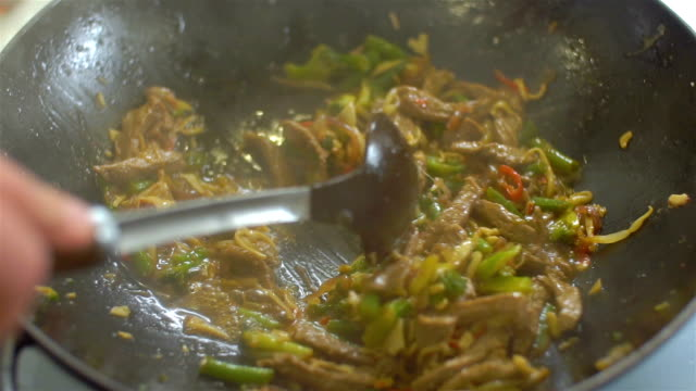 hot wok cooking, slo mo - boiled stock videos and b-roll footage