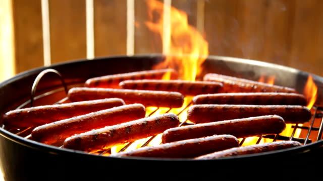 hotdogs 、チャコールのバーベキュー - ホットドッグ点の映像素材/bロール