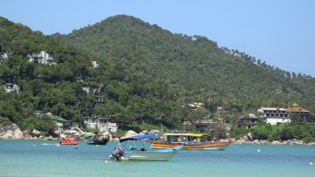 hotel and boats in thong nai pan bay - gulf of thailand stock videos & royalty-free footage