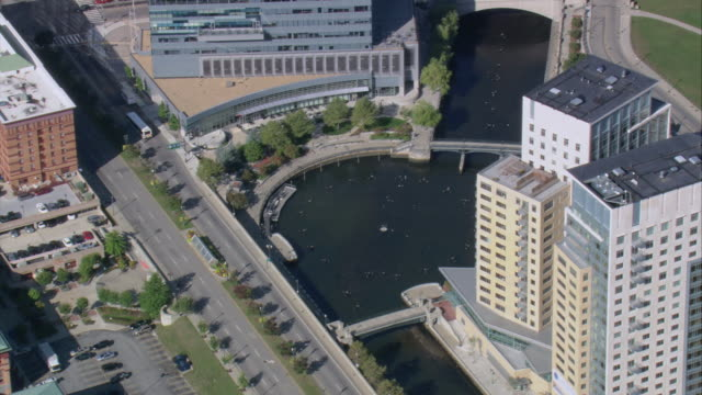 AERIAL Hotel and other buildings along Providence Riverwalk and Memorial Boulevard / Providence, Rhode Island, United States