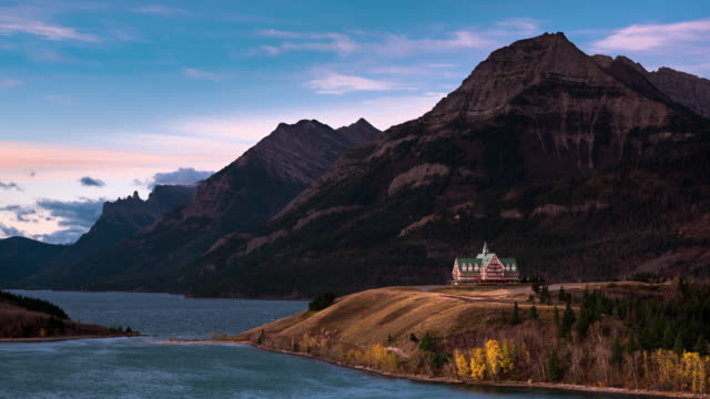 WS T/L Hotel and Upper Waterton Lake at sunrise
