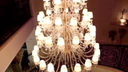 A hotel chandelier