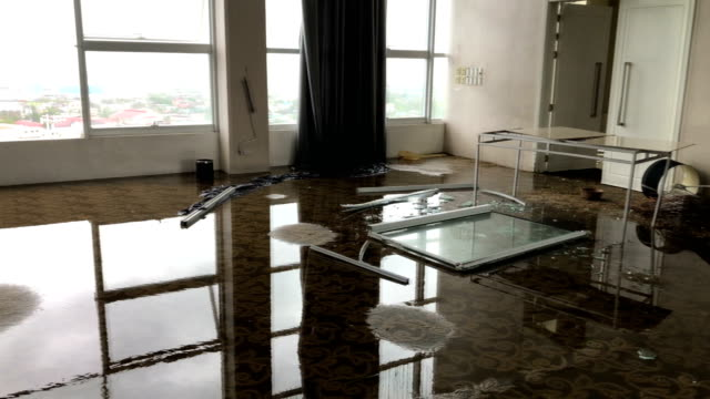 hotel conference room trashed and flooded after typhoon kammuri hit philippines - broken stock videos & royalty-free footage