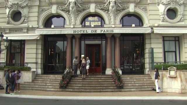 hotel de paris signage at the 50th monte carlo tv festival celebrity sightings at monaco - monte carlo stock videos & royalty-free footage