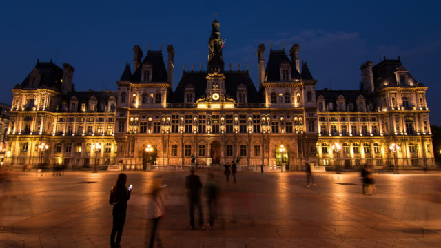 T/L Hotel de Ville in Paris, France at night