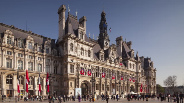 hotel de ville in paris, france. - hotel de ville paris stock videos & royalty-free footage