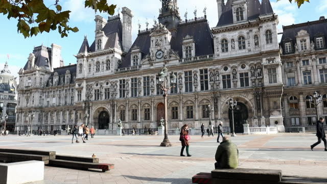 hotel de ville in paris on november 2019 in paris france - hotel de ville paris stock videos & royalty-free footage