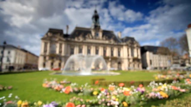 hotel de ville in tours, france - town hall stock videos & royalty-free footage