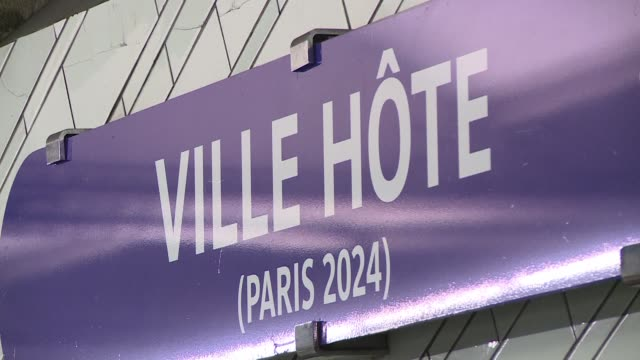 hotel de ville subway station in paris was renamed ville hote on thursday to celebrate the city's successful bid to host the olympic games in 2024 - hotel de ville paris stock videos & royalty-free footage