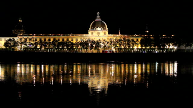 hotel dieu in lyon france at night - rhone river stock videos & royalty-free footage