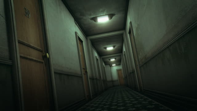 Hotel hallway scary scene (preview darker than video)