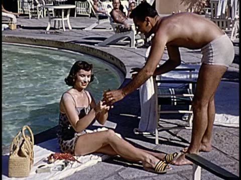 1955 - hotel nacional de cuba poolside - shirtless stock videos & royalty-free footage