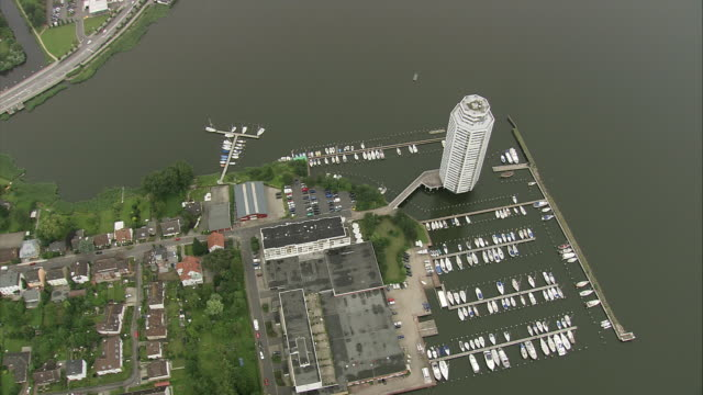 aerial zi hotel on marina, schleswig, schleswig-holstein, germany - schleswig holstein stock videos & royalty-free footage