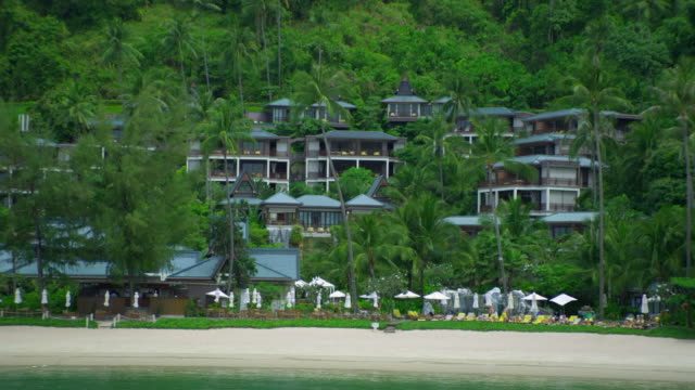ws hotel resort on beach, krabi, thailand - see other clips from this shoot 1459 stock videos and b-roll footage
