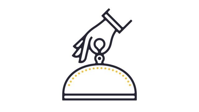 vídeos y material grabado en eventos de stock de animación del icono de línea de servicio de hotel - ícono