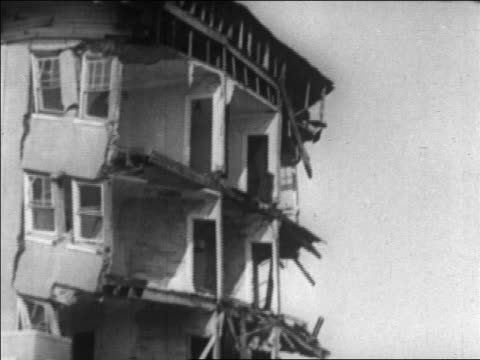 b/w 1926 hotel with collapsed wall / long beach california / newsreel - 1926 stock videos & royalty-free footage
