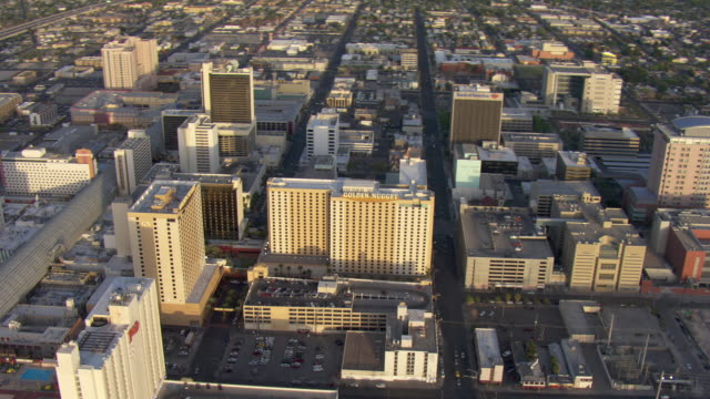 hotels and casinos line fremont street in las vegas. - clark county nevada stock videos and b-roll footage