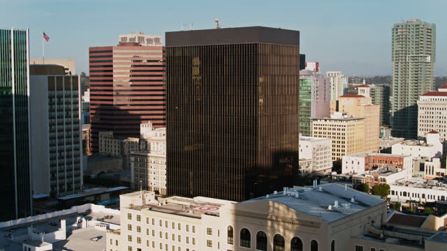 hotels and office towers in downtown san diego - aerial - san diego stock videos & royalty-free footage