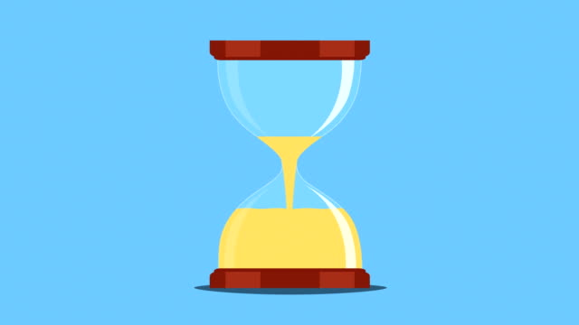 vídeos de stock e filmes b-roll de hourglass, sand timer, or sand clock measuring time and turning upside down animation. - areia