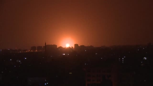 hours after a missile was launched from the gaza strip towards southern israel israeli warplanes launch strikes on gaza targeting hamas positions - gaza strip stock videos & royalty-free footage