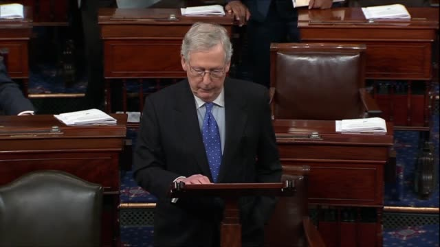 Hours after Senator Mitch McConnell introduced a sevenweek spending bill he enters an order with Senators in the chamber to concur in the bill...
