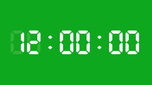 vídeos de stock e filmes b-roll de 24 hours digital clock animation. you can stop at the beginning of every hour. simple led twenty four numbers. time counter symbol and countdown stock video. you can use it as minute, second and milliseconds. - plano picado