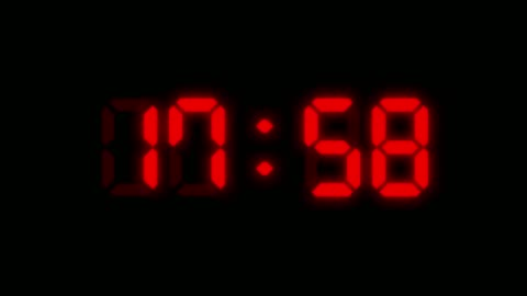 24 hours red colored digital clock animation on black background. you can stop at the beginning of every hour. simple led twenty four numbers. time counter symbol and countdown stock video. you can use it as minute, second and milliseconds. - clock face stock videos & royalty-free footage