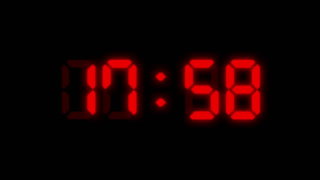 24 hours red colored digital clock animation on black background. you can stop at the beginning of every hour. simple led twenty four numbers. time counter symbol and countdown stock video. you can use it as minute, second and milliseconds. - clock stock videos & royalty-free footage