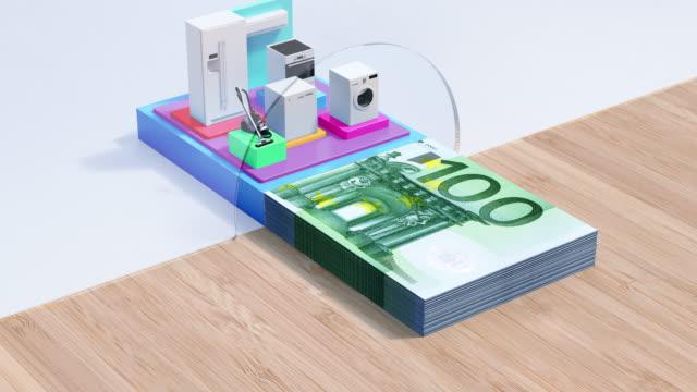 hausgeräte darlehen - euro credit - 4k resolution - haushaltsmaschine stock-videos und b-roll-filmmaterial