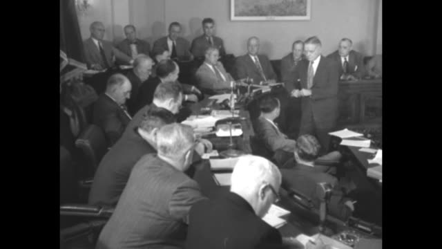 house armed services committee hearing on air force and navy dispute / vs testimony by admiral william halsey us navy and admiral william blandy us... - william halsey stock-videos und b-roll-filmmaterial