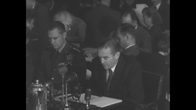 House Armed Services Committee hears testimony from US Secretary of the Air Force Stuart Symington / Symington and General Hoyt Vandenberg / CU...