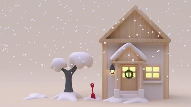 haus cartoon holz creme weiß schneebeschnigen wintersaison neujahr weihnachten konzept 3d rendering - zeichnung stock-videos und b-roll-filmmaterial