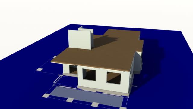 Haus gebaut auf eine Technische Zeichnung