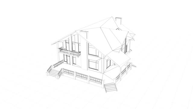 house construction drawing on grid - construction frame stock videos & royalty-free footage