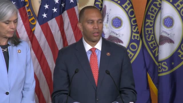 house democratic caucus chairman hakeem jeffries of new york answers a reporter question at a weekly briefing about democrats legislative agenda and... - prescription drug costs stock videos & royalty-free footage