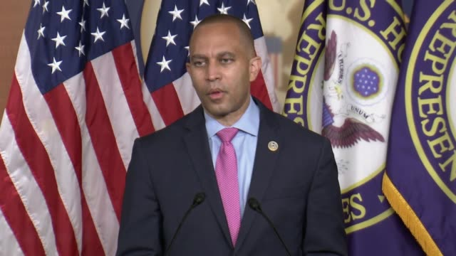 stockvideo's en b-roll-footage met house democratic caucus chairman hakeem jeffries of new york tells reporters at a weekly press conference it was a very simple question that all of... - number 9