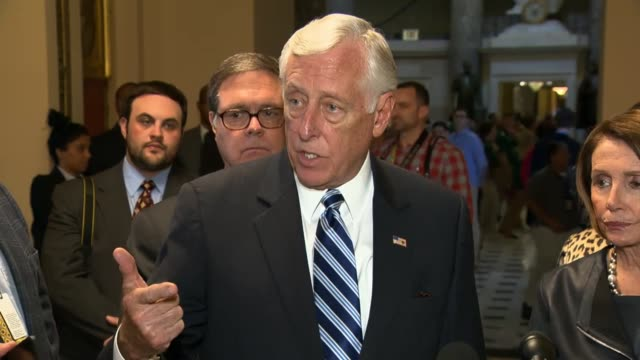 house democratic leaders nancy pelosi and steny hoyer asked about the status of the race for speaker in the house but insist that such infighting... - speaker of the house stock videos and b-roll footage