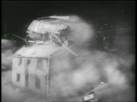 SOLARIZED house exploding in atomic bomb test / Nevada / documentary