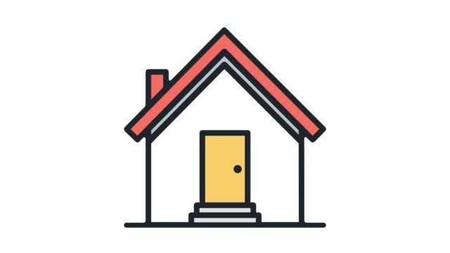 house for rent line icon animation with alpha - house rental stock videos & royalty-free footage