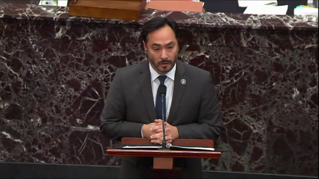 house impeachment manager joaquin castro of texas says of video clip at second sitting of the senate trial of former president donald trump for... - hanging execution stock-videos und b-roll-filmmaterial