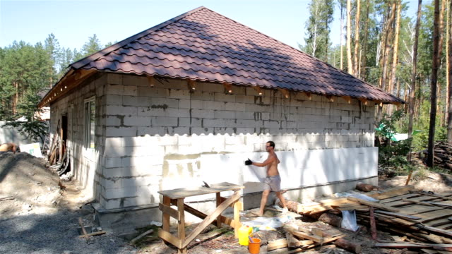 House insulation with polystyrene.