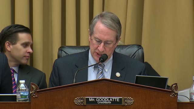house judiciary committee bob goodlatte of virginia brings the committee to order for an oversight hearing with fbi director christopher wray... - christopher a. wray stock videos & royalty-free footage
