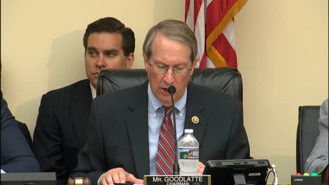 House Judiciary Committee Chairman Bob Goodlatte of Virginia delivers an opening statement at an oversight hearing of his committee with Attorney...