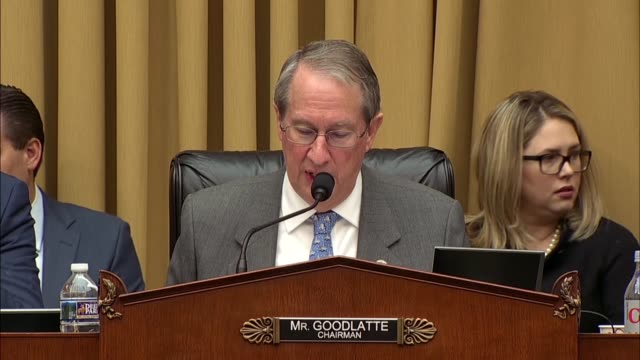 House Judiciary Committee Chairman Bob Goodlatte of Virginia says at an oversight hearing with Deputy Attorney General Rod Rosenstein that the...